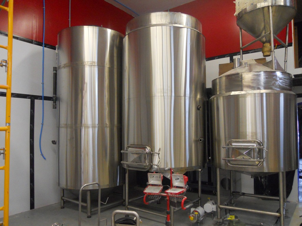 The brew house. From left; hot liquor tank, brew kettle/ whirlpool combination, mash tun