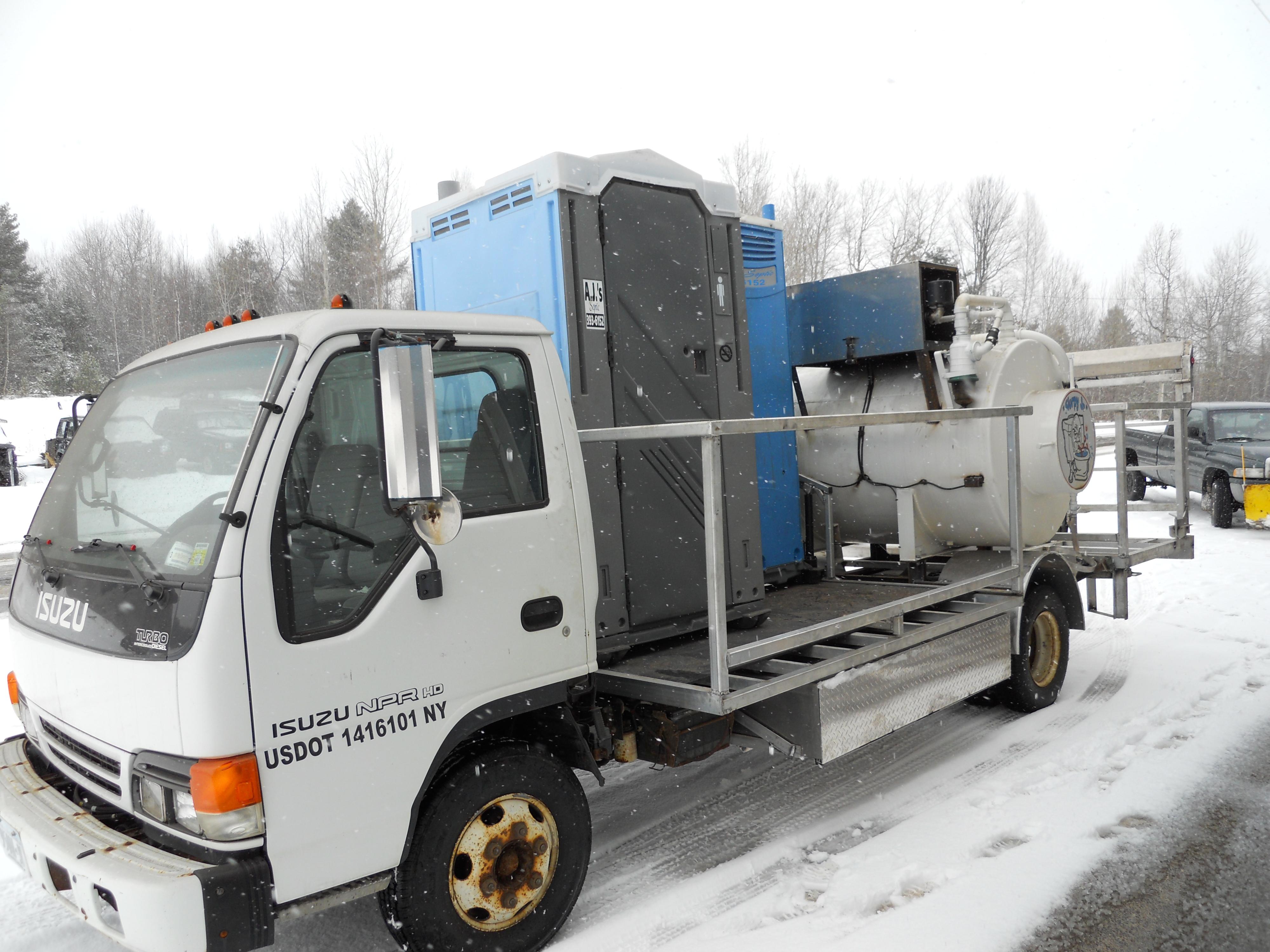 AJ's Septic isuzu portable toilet service truck