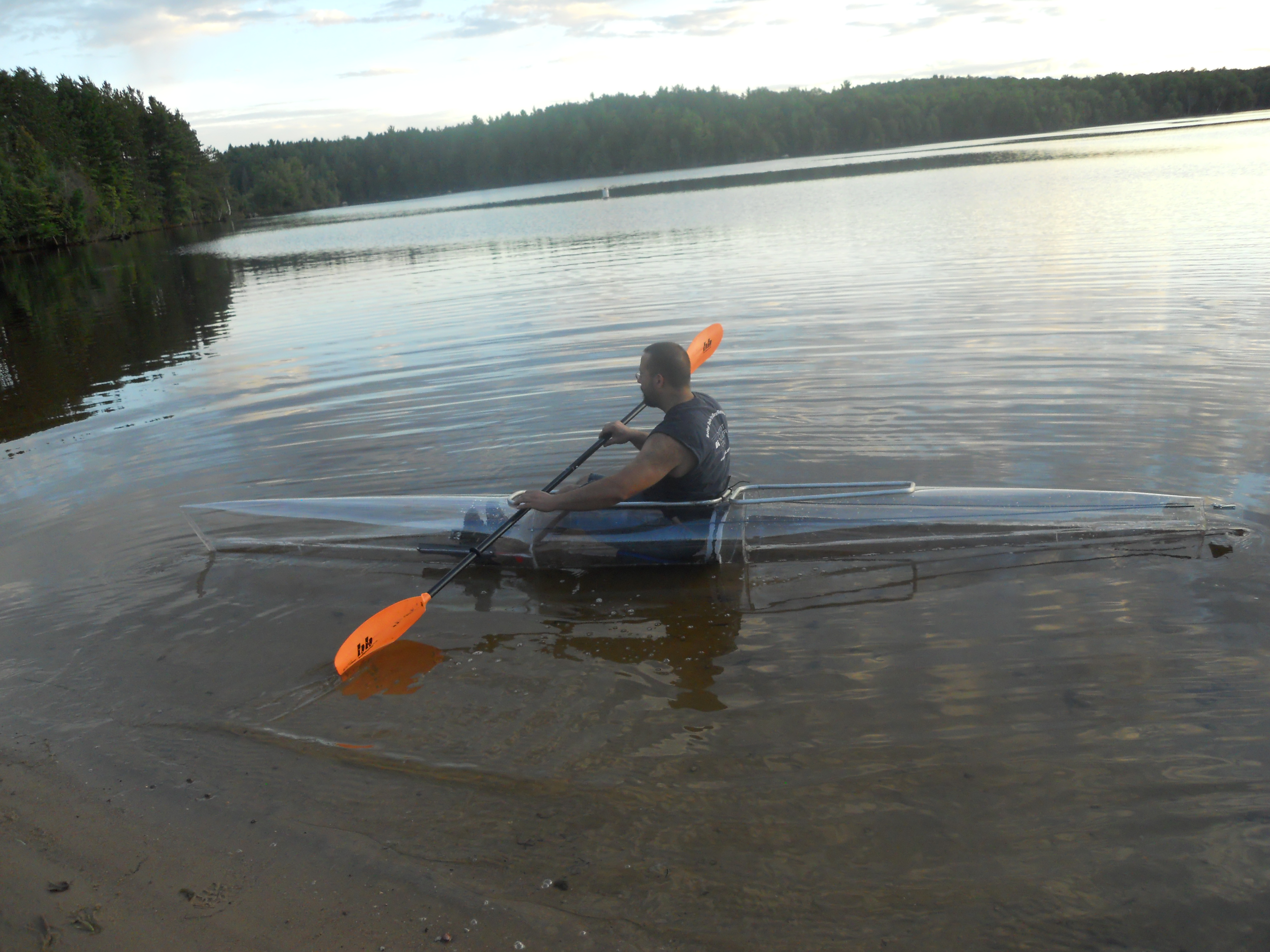 Mark Hebel paddling clear kayak